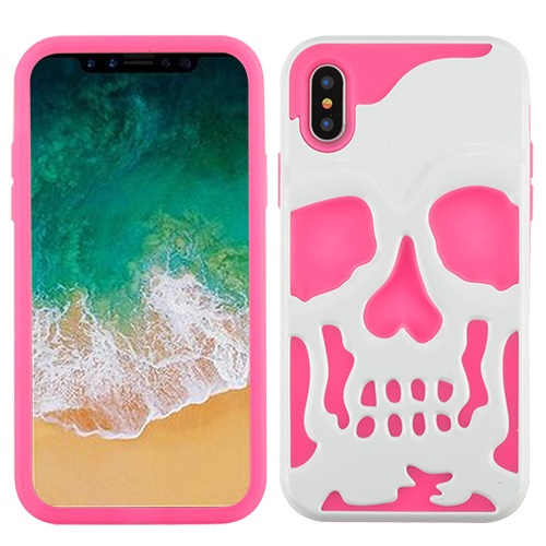 Apple iPhone X Case, [White on Hot Pink] Skull Hybrid Dual Layer Hard Case on Silicone Skin