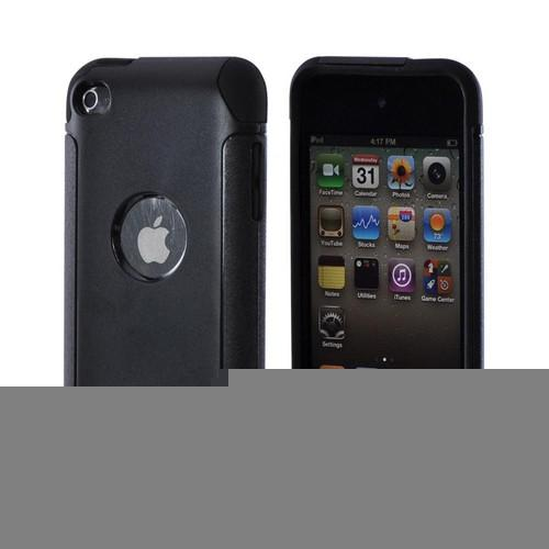 Black Hard Case on Silicone for Apple iPod Touch 4