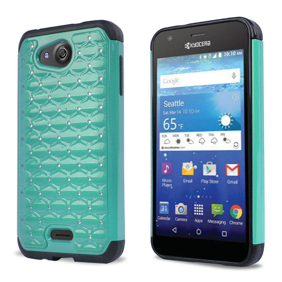 Kyocera Hydro Wave Case, [Mint/ Black Bling] Supreme Protection Plastic on Silicone Dual Layer Hybrid Case