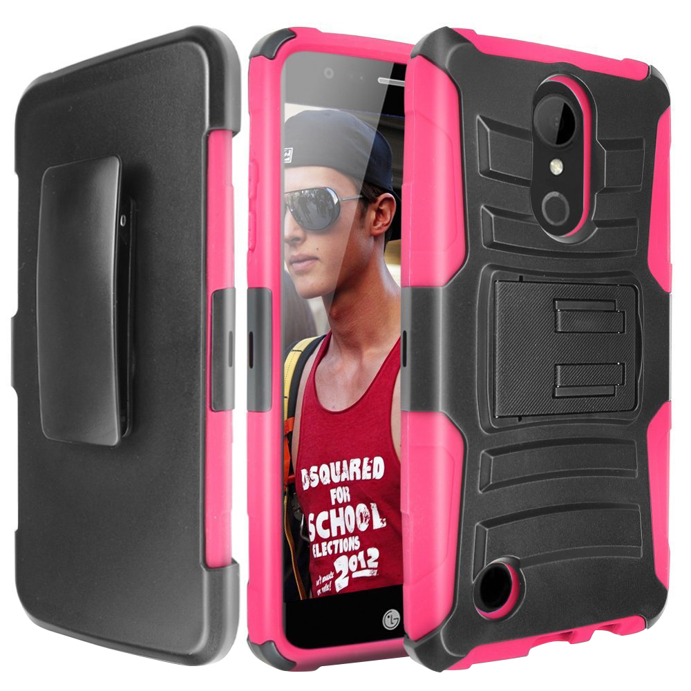 [LG ARISTO 2/X210/LG TRIBUTE DYNASTY] Holster Case, REDshield [Pink/Black] Supreme Protection Hard Plastic on Silicone Skin Dual Layer Hybrid Case