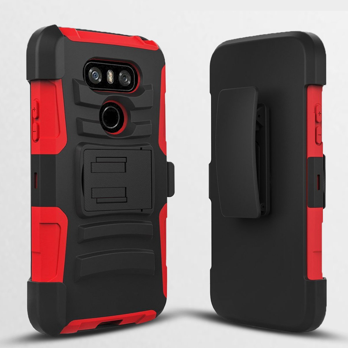 LG G6 Heavy Duty Case, Dual Layer Hard Case w/ Kickstand on [Red] Silicone Skin Case w/ Holster [Black/ Red] with Travel Wallet Phone Stand