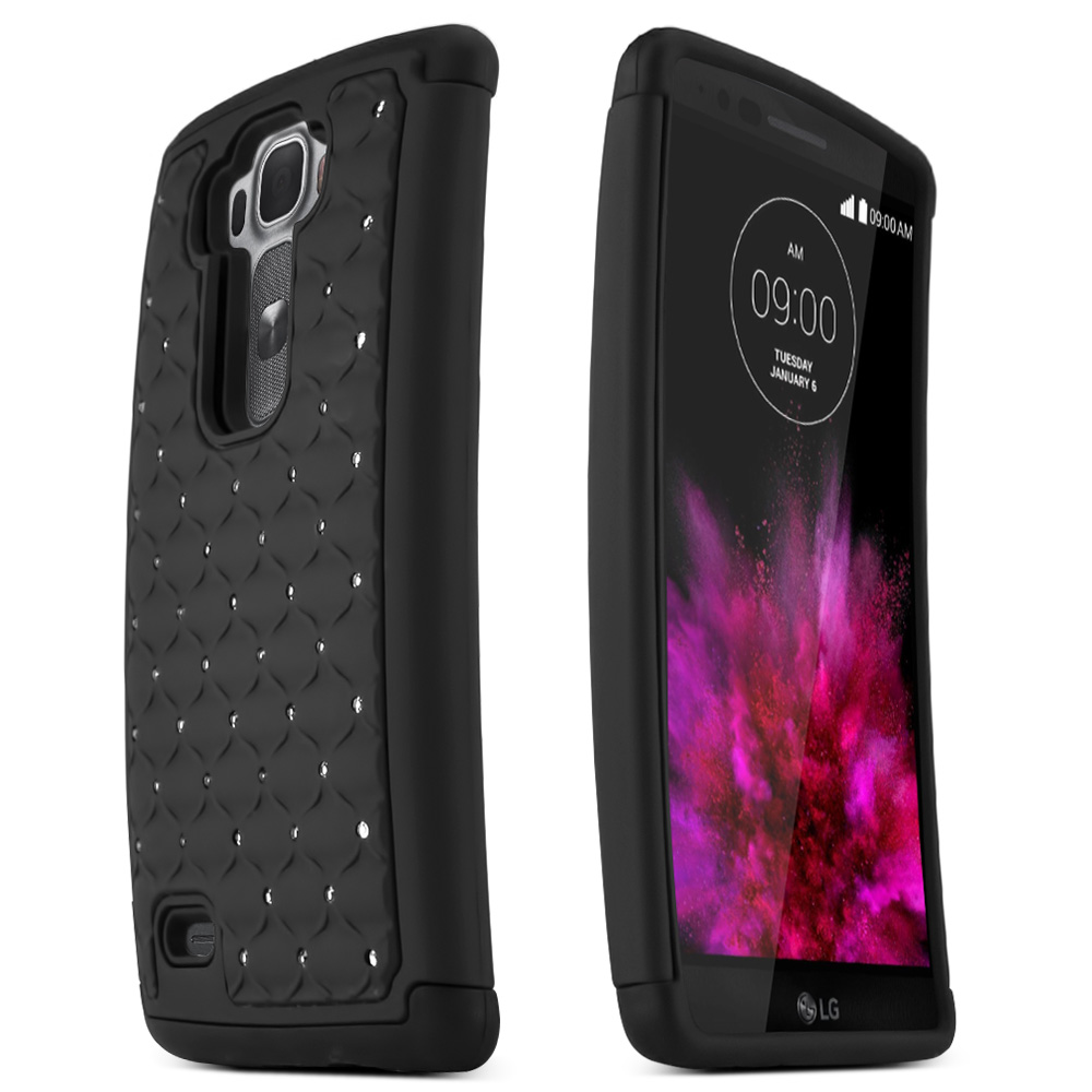 G Flex 2 Case, [Black Bling] Supreme Protection Plastic on Silicone Dual Layer Hybrid Case for LG G Flex 2