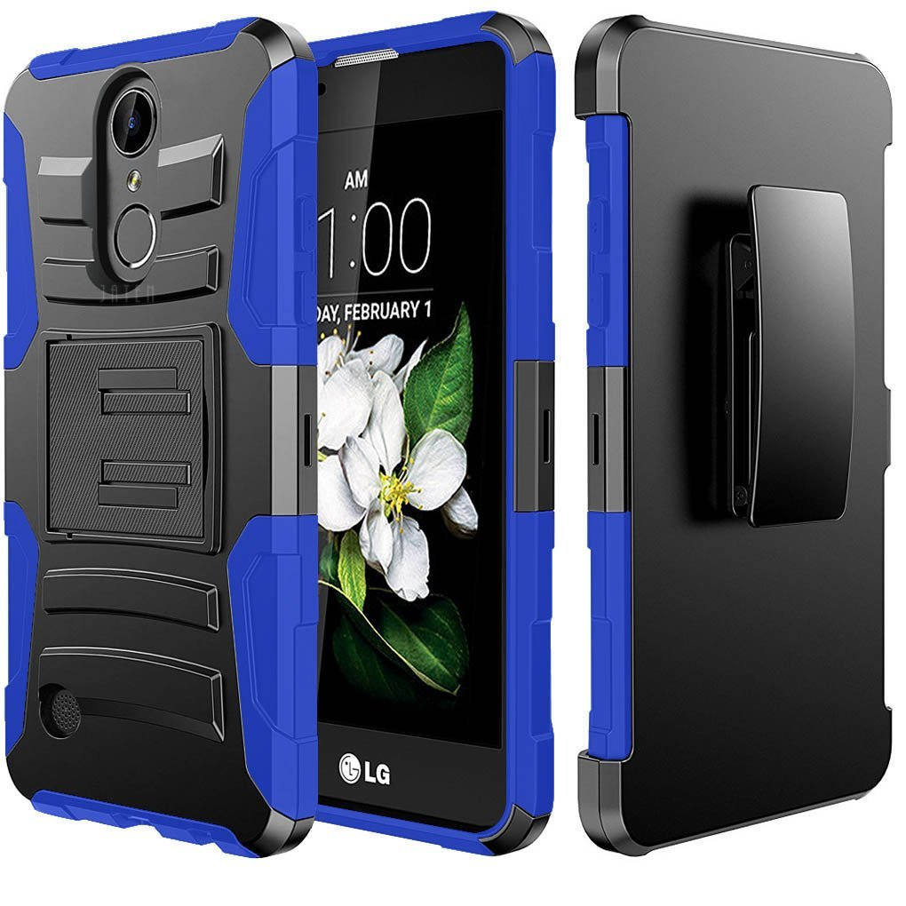 LG K10 (2017) Case, Dual Layer Hard Case w/ Kickstand on Silicone Skin Case w/ Holster [Blue] with Travel Wallet Phone Stand