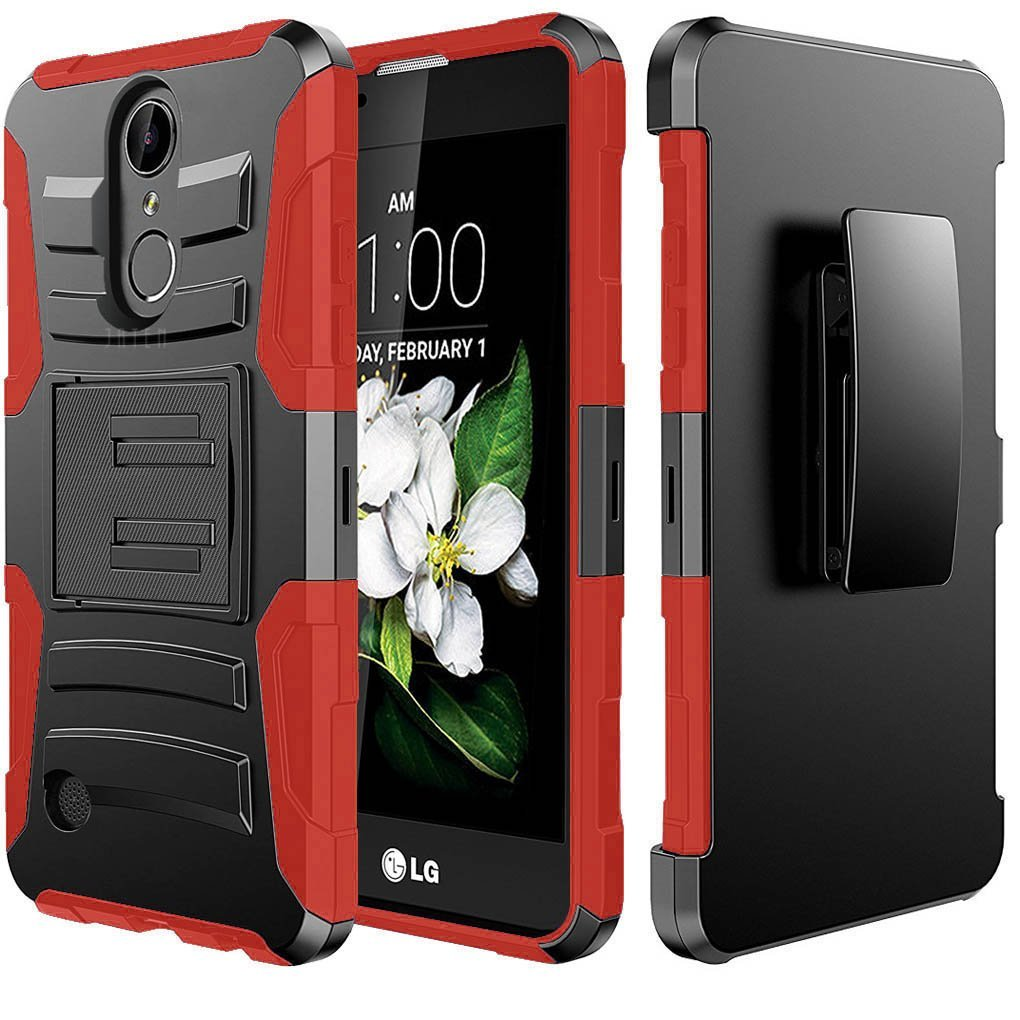 LG K10 (2017) Case, Dual Layer Hard Case w/ Kickstand on Silicone Skin Case w/ Holster [Red] with Travel Wallet Phone Stand