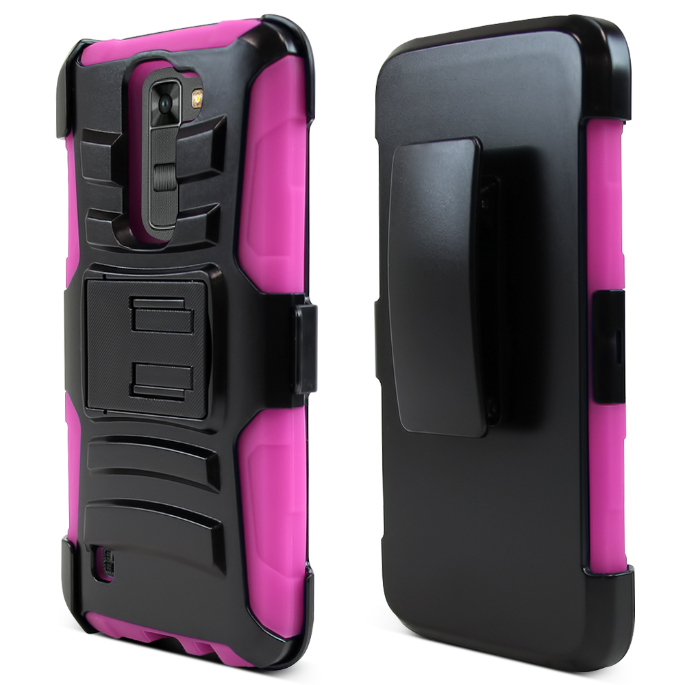 LG K7/ LG Tribute 5 Case,  [Hot Pink]  Heavy Duty Dual Layer Hybrid Holster Case with Kickstand and Locking Belt Swivel Clip