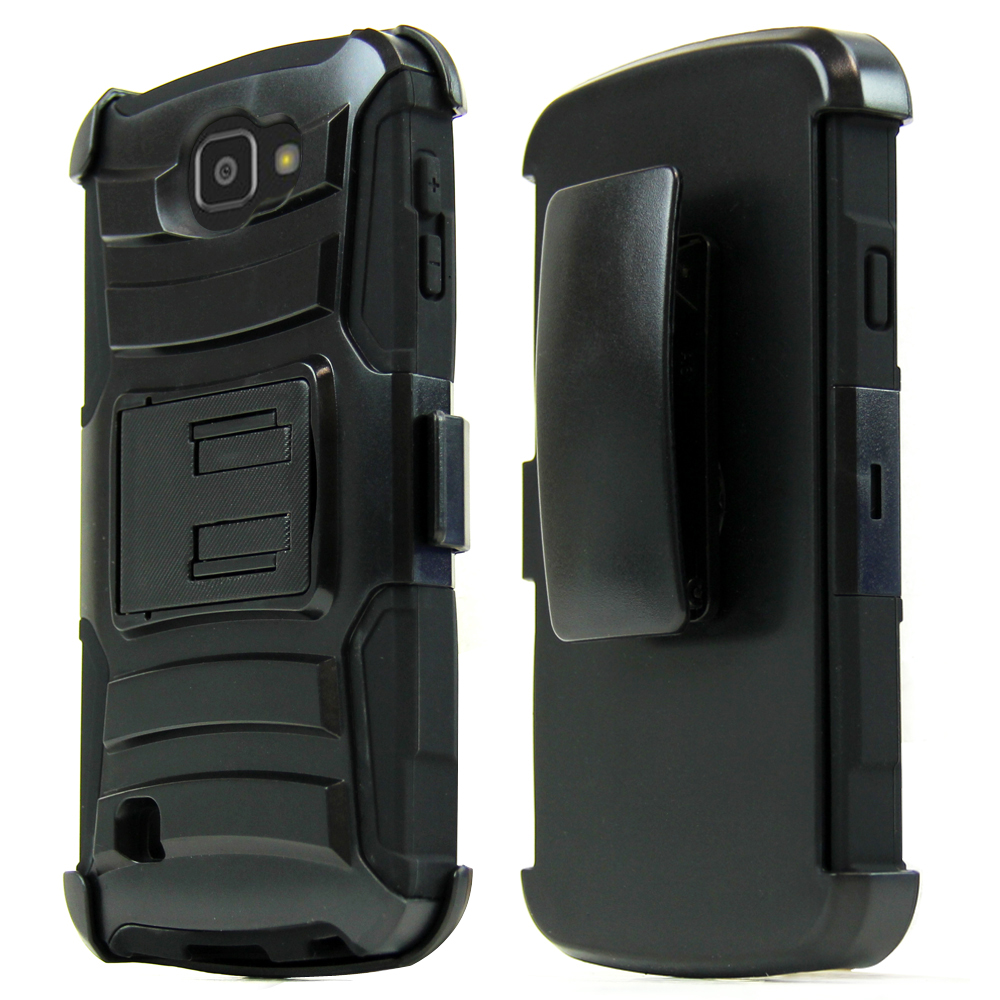 LG Optimus Zone 3 Case, REDshield [Black] Heavy Duty Dual Layer Hybrid Holster Case with Kickstand and Locking Belt Swivel Clip