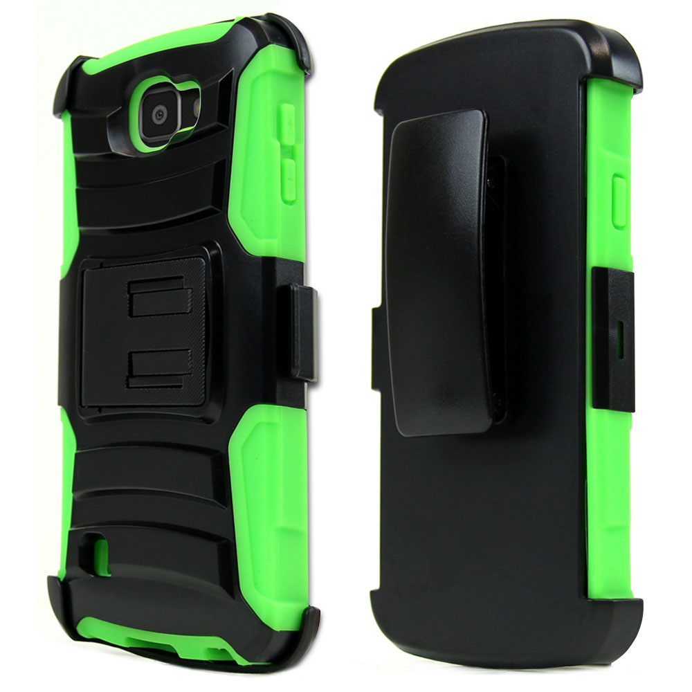 LG Optimus Zone 3 Case, REDshield [Neon Green] Heavy Duty Dual Layer Hybrid Holster Case with Kickstand and Locking Belt Swivel Clip