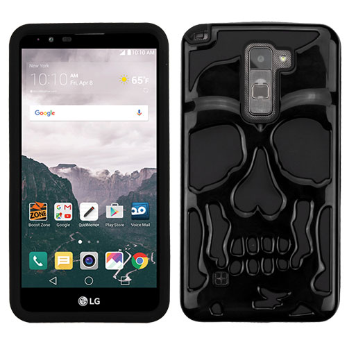 LG Stylo 2 Plus Case, Skull Hybrid Dual Layer Hard Case on Silicone Skin [Black]