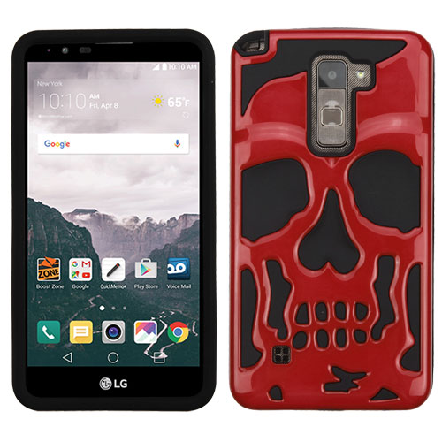 LG Stylo 2 Plus Case, Skull Hybrid Dual Layer Hard Case on Silicone Skin [Red]