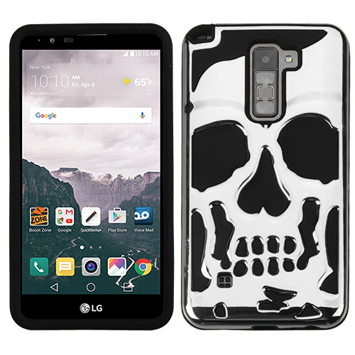 LG Stylo 2 Plus Case, Skull Hybrid Dual Layer Hard Case on Silicone Skin [Silver]