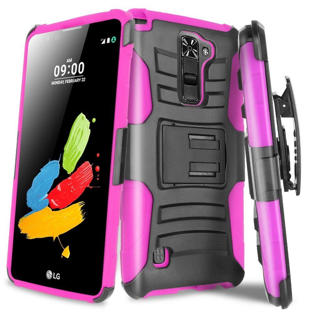 LG Stylo 2 Holster Case, REDshield [Hot Pink] Supreme Protection Hard Plastic on Silicone Skin Dual Layer Hybrid Case