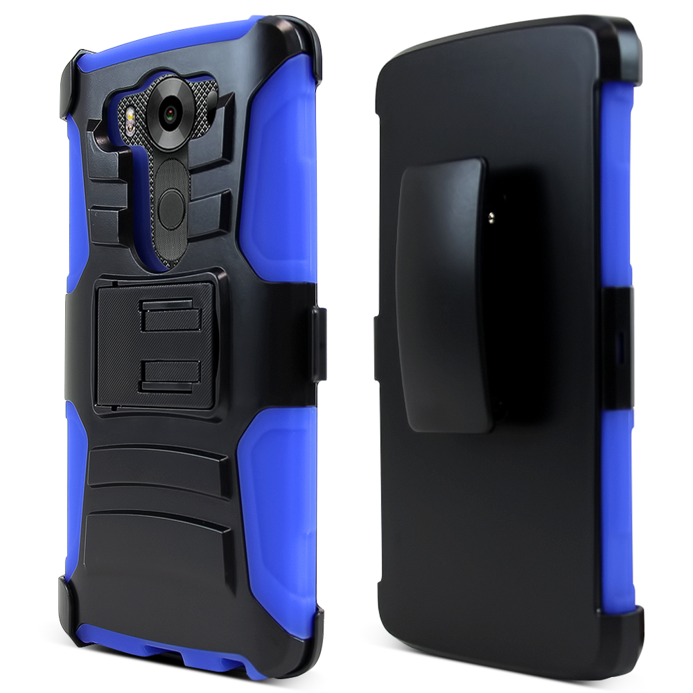LG V10 Case,  [Blue]  Heavy Duty Dual Layer Hybrid Holster Case with Kickstand and Locking Belt Swivel Clip