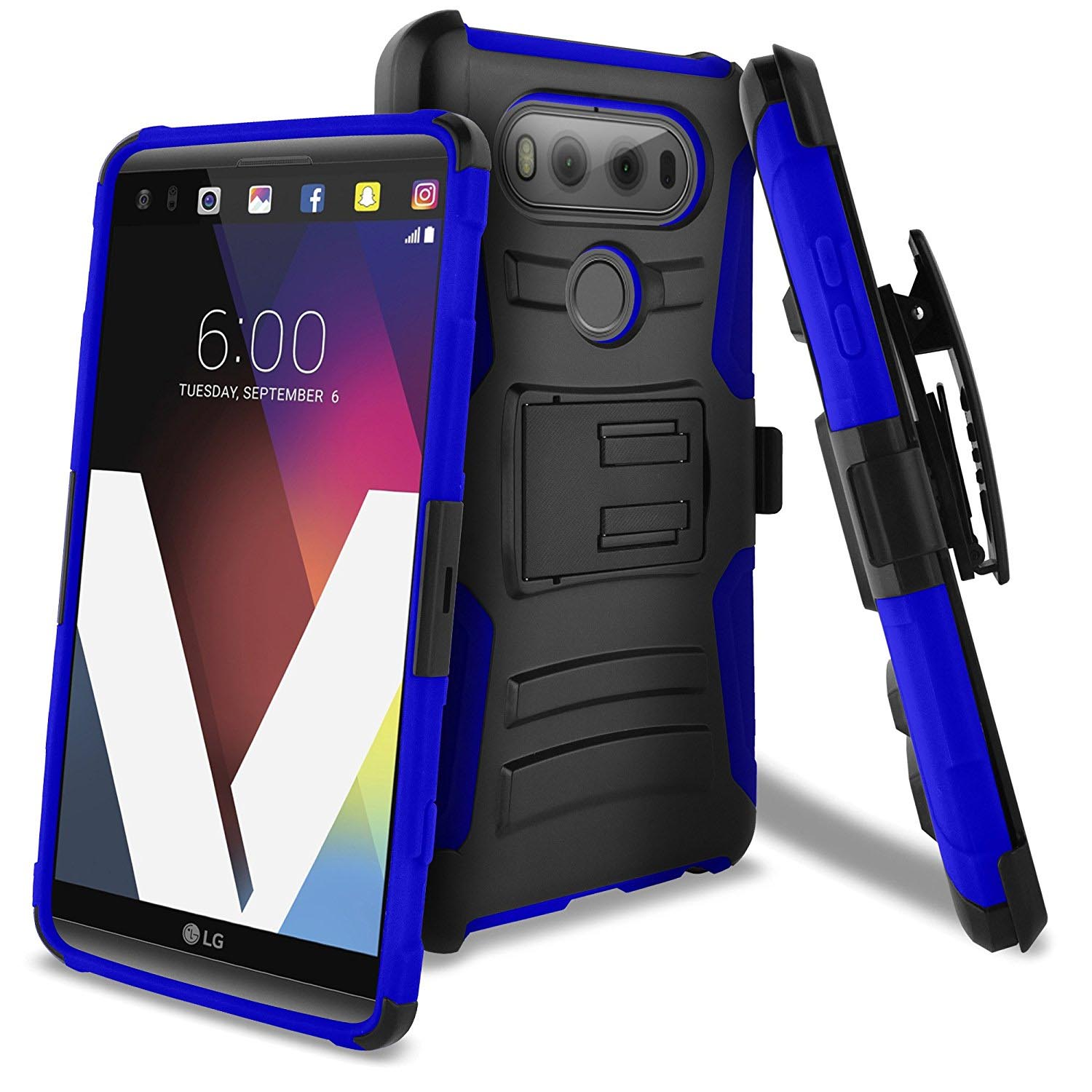 LG V20 Holster Case, REDshield [Blue] Supreme Protection Hard Plastic on Silicone Skin Dual Layer Hybrid Case