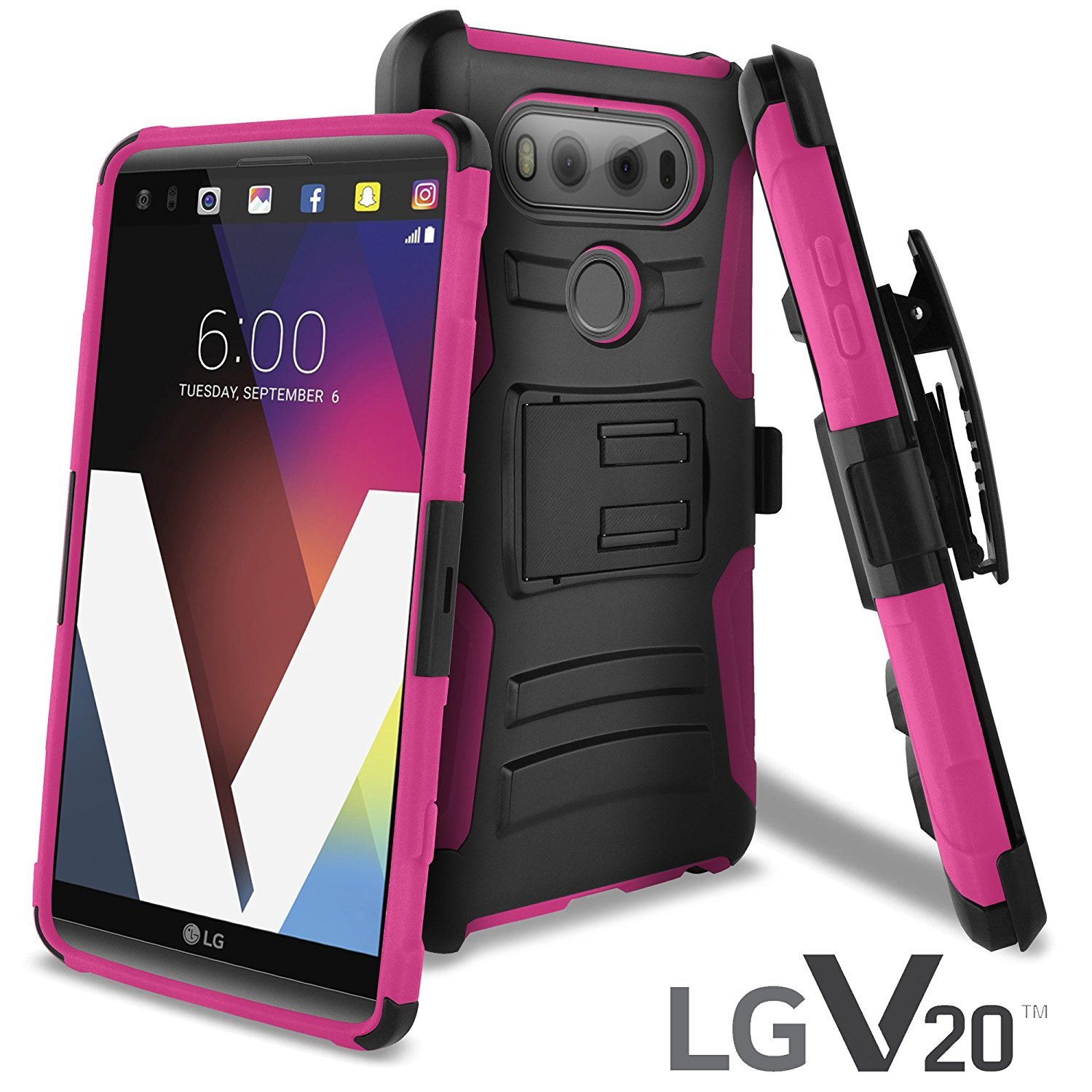 LG V20 Holster Case, REDshield [Hot Pink] Supreme Protection Hard Plastic on Silicone Skin Dual Layer Hybrid Case