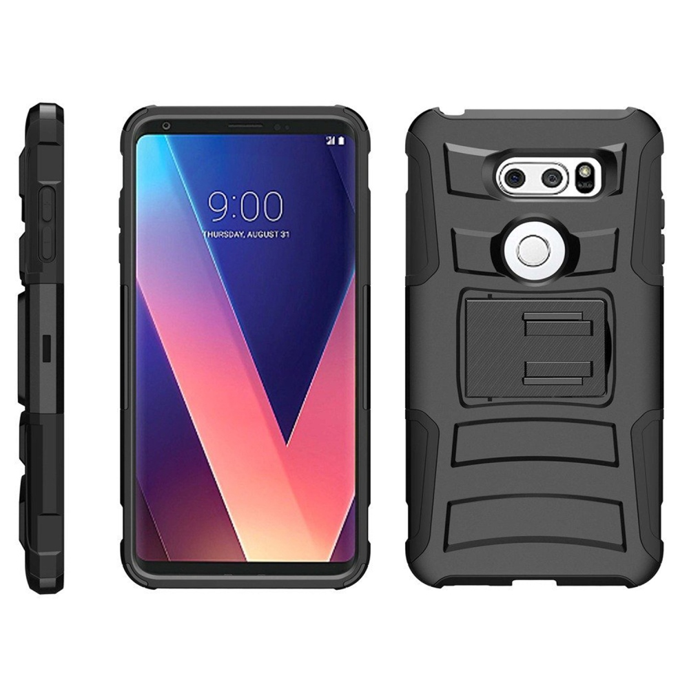 [REDshield] LG V30 Holster Case, Dual Layer [Black] Hard Case w/ Kickstand on [Black] Silicone Skin Case w/ Holster