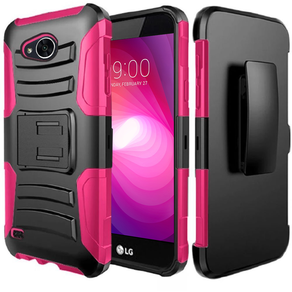 LG X Power 2/ X Charge Case, Dual Layer Hard Case w/ Kickstand on [Hot Pink] Silicone Skin Case w/ Holster with Travel Wallet Phone Stand