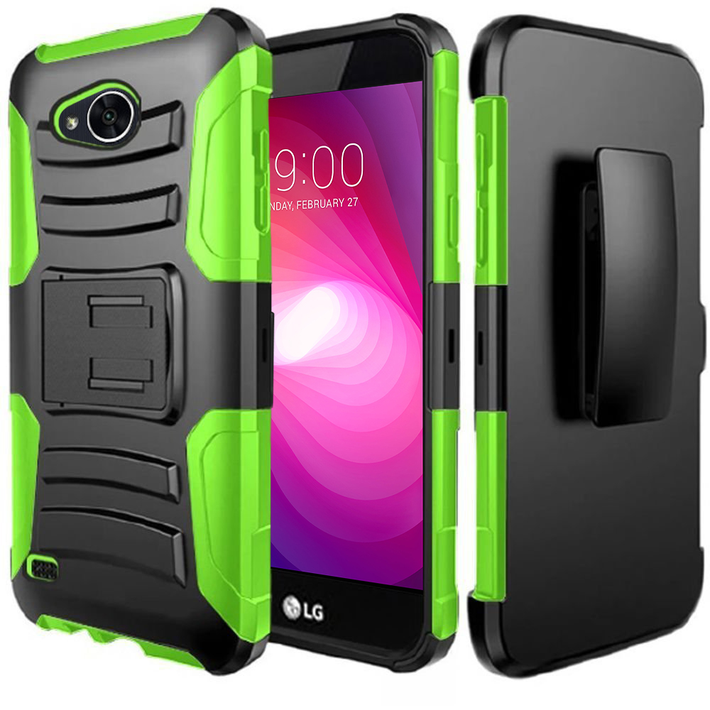 LG X Power 2/ X Charge Case, Dual Layer Hard Case w/ Kickstand on [Neon Green] Silicone Skin Case w/ Holster with Travel Wallet Phone Stand