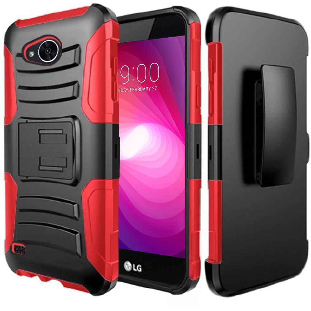 LG X Power 2/ X Charge Case, Dual Layer Hard Case w/ Kickstand on [Red] Silicone Skin Case w/ Holster with Travel Wallet Phone Stand