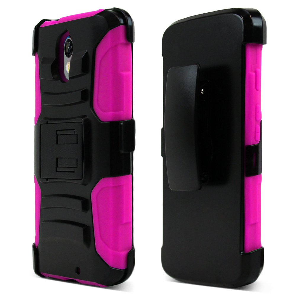 Motorola Droid Turbo 2 Holster Case, [Hot Pink] Supreme Protection Plastic on Silicone Dual Layer Hybrid Case