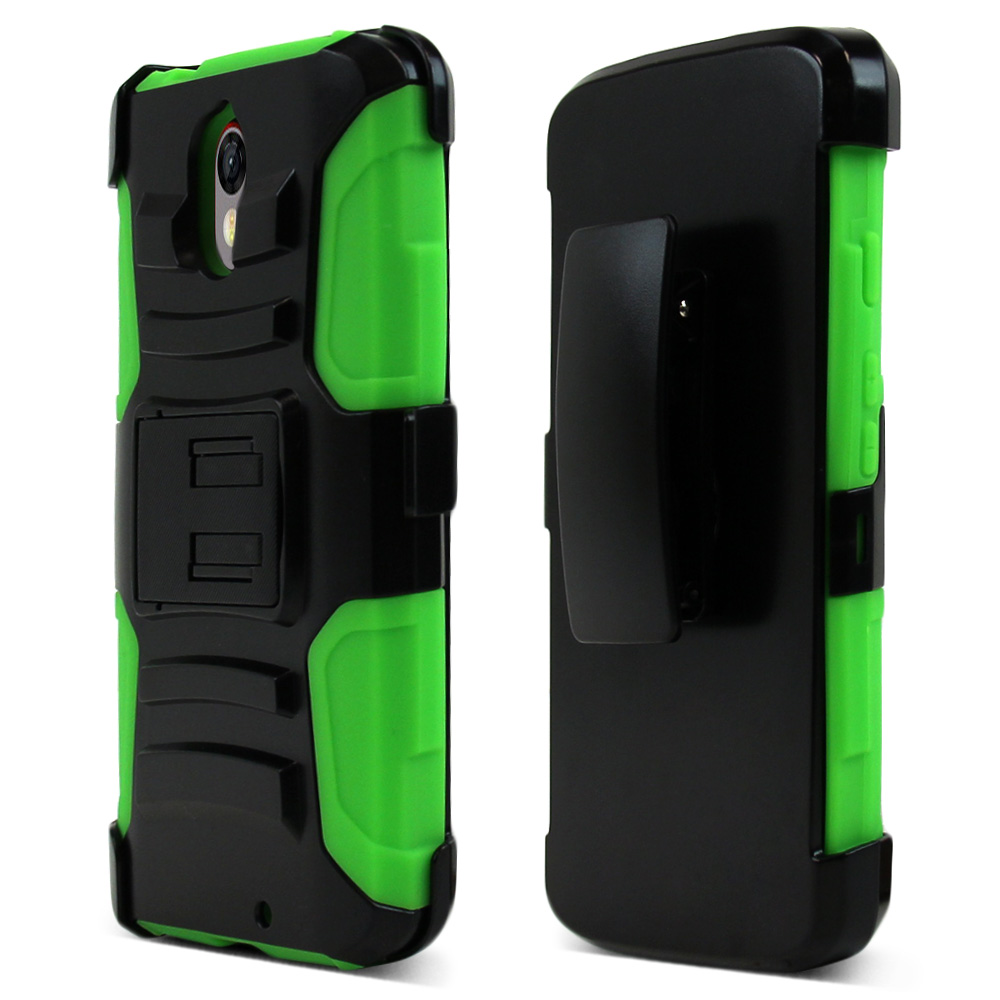 Motorola Droid Turbo 2 Holster Case, [Neon Green] Supreme Protection Plastic on Silicone Dual Layer Hybrid Case