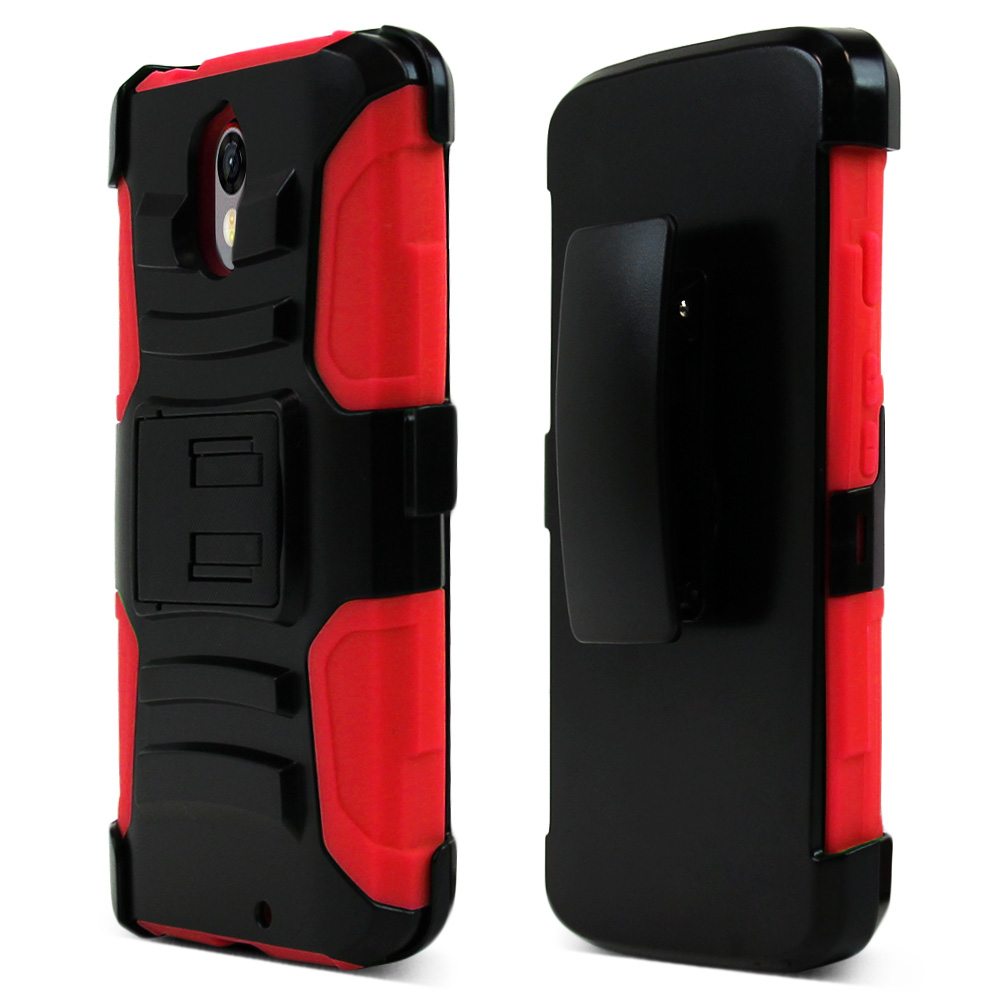 Motorola Droid Turbo 2 Holster Case, [Red] Supreme Protection Plastic on Silicone Dual Layer Hybrid Case
