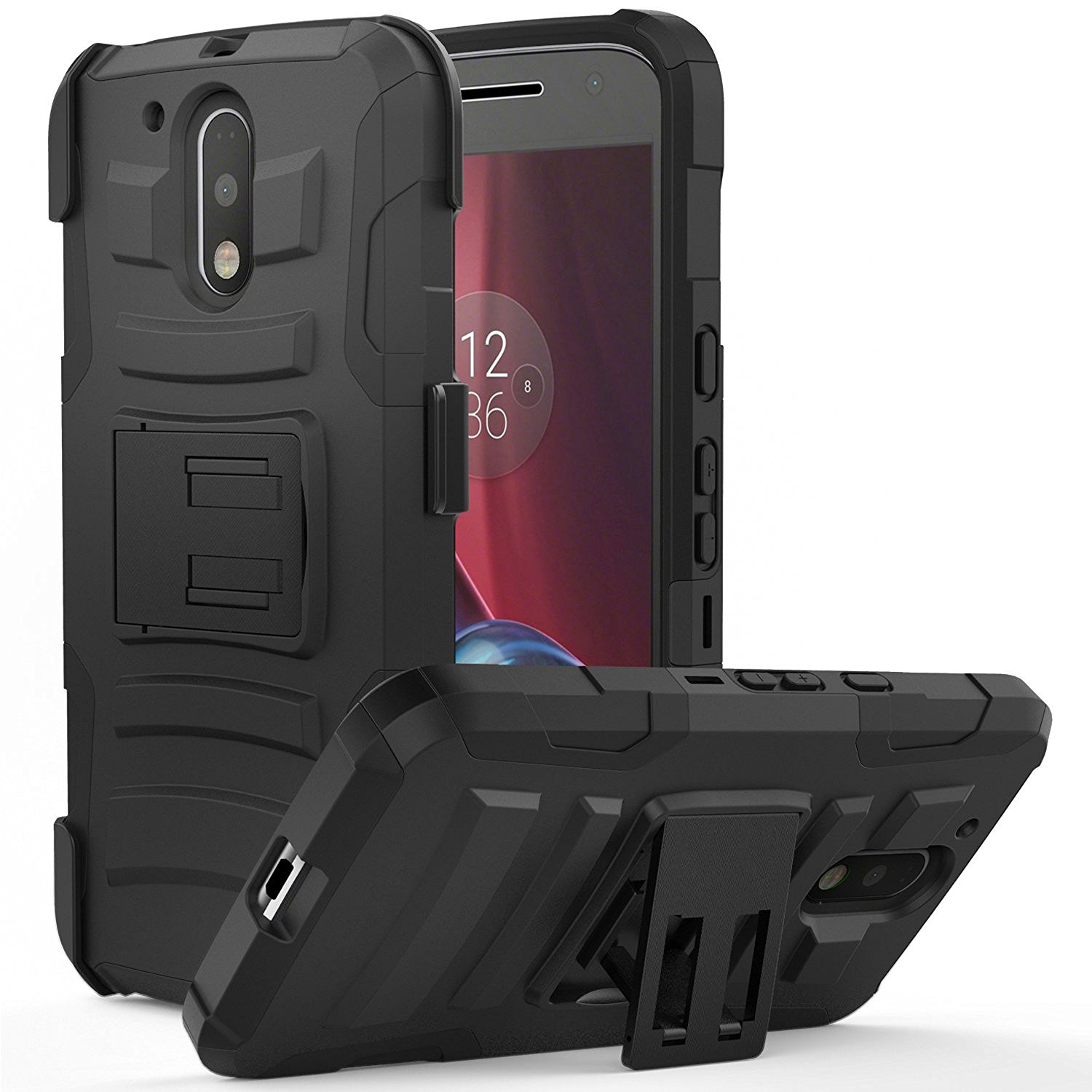 Motorola Moto G4/ Moto G4 Plus Holster Case,  REDshield [Black] Supreme Protection Hard Plastic on Silicone Skin Dual Layer Hybrid Case with Travel Wallet Phone Stand