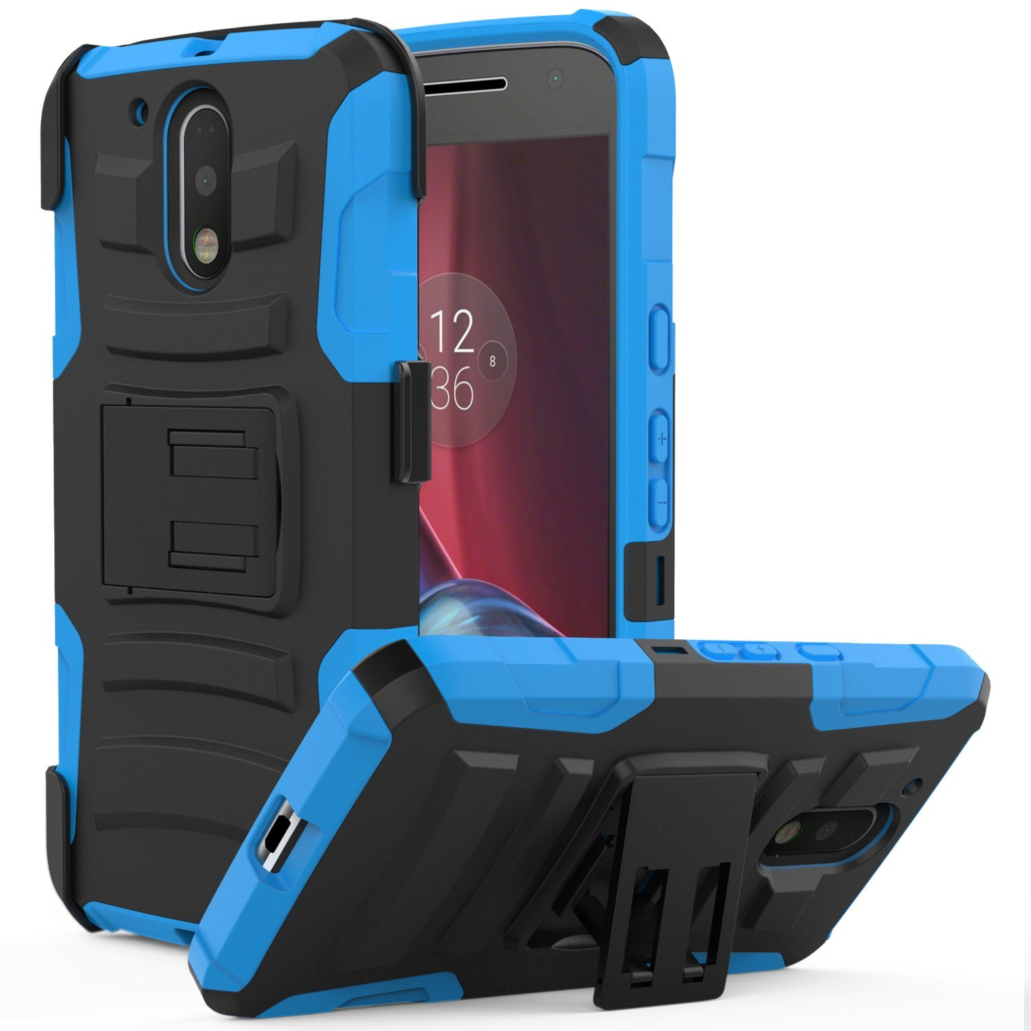 Motorola Moto G4/ Moto G4 Plus Holster Case, REDshield [Blue] Supreme Protection Hard Plastic on Silicone Skin Dual Layer Hybrid Case with Travel Wallet Phone Stand