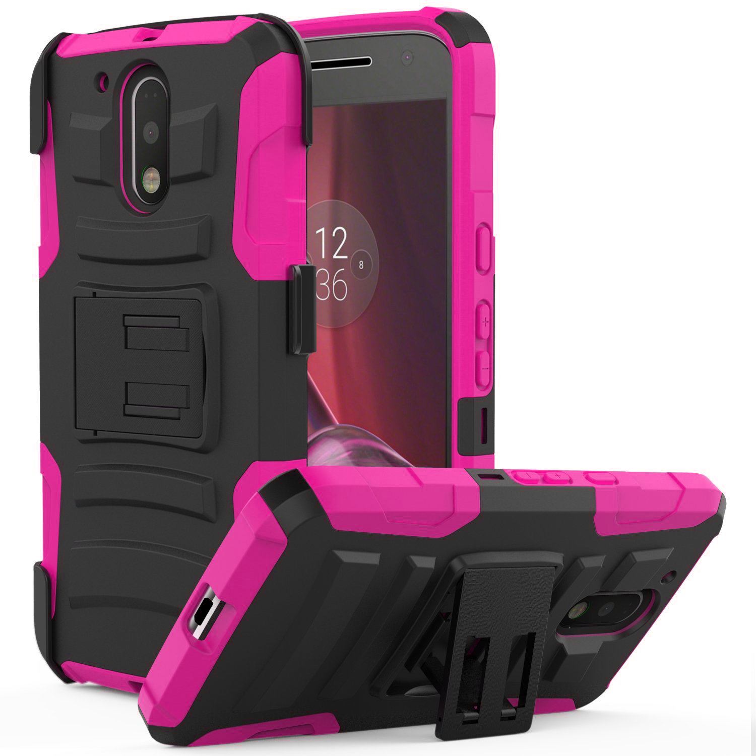 Motorola Moto G4/ Moto G4 Plus Holster Case, REDshield [Hot Pink] Supreme Protection Hard Plastic on Silicone Skin Dual Layer Hybrid Case with Travel Wallet Phone Stand