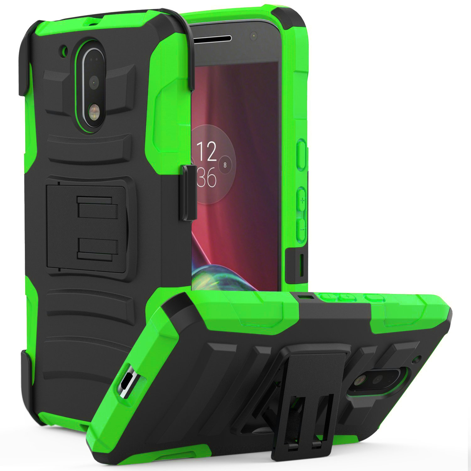 Motorola Moto G4/ Moto G4 Plus Holster Case,  REDshield [Neon Green] Supreme Protection Hard Plastic on Silicone Skin Dual Layer Hybrid Case with Travel Wallet Phone Stand