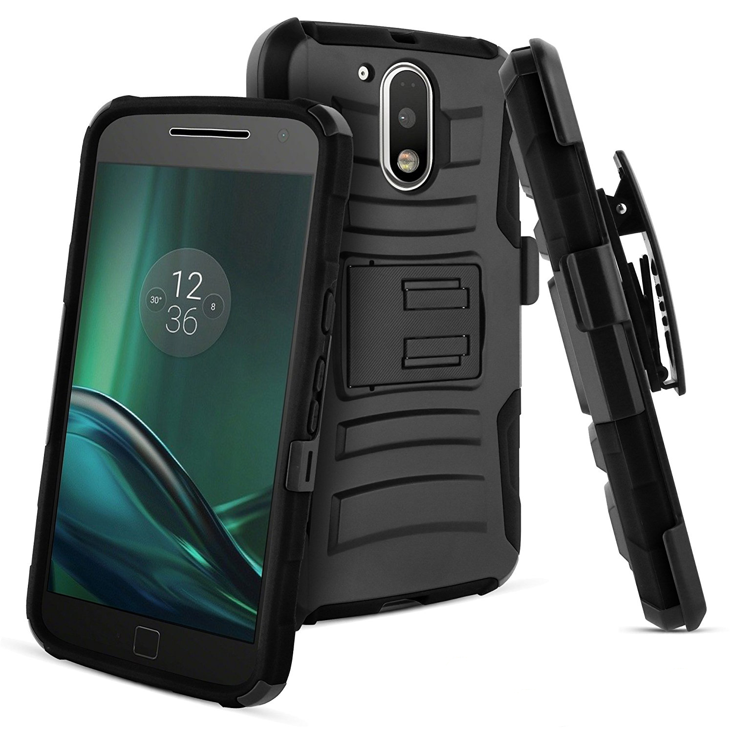 Motorola Moto G4 Play Case, Dual Layer Hard Case w/ Kickstand on Silicone Skin Case w/ Holster [Black] with Travel Wallet Phone Stand