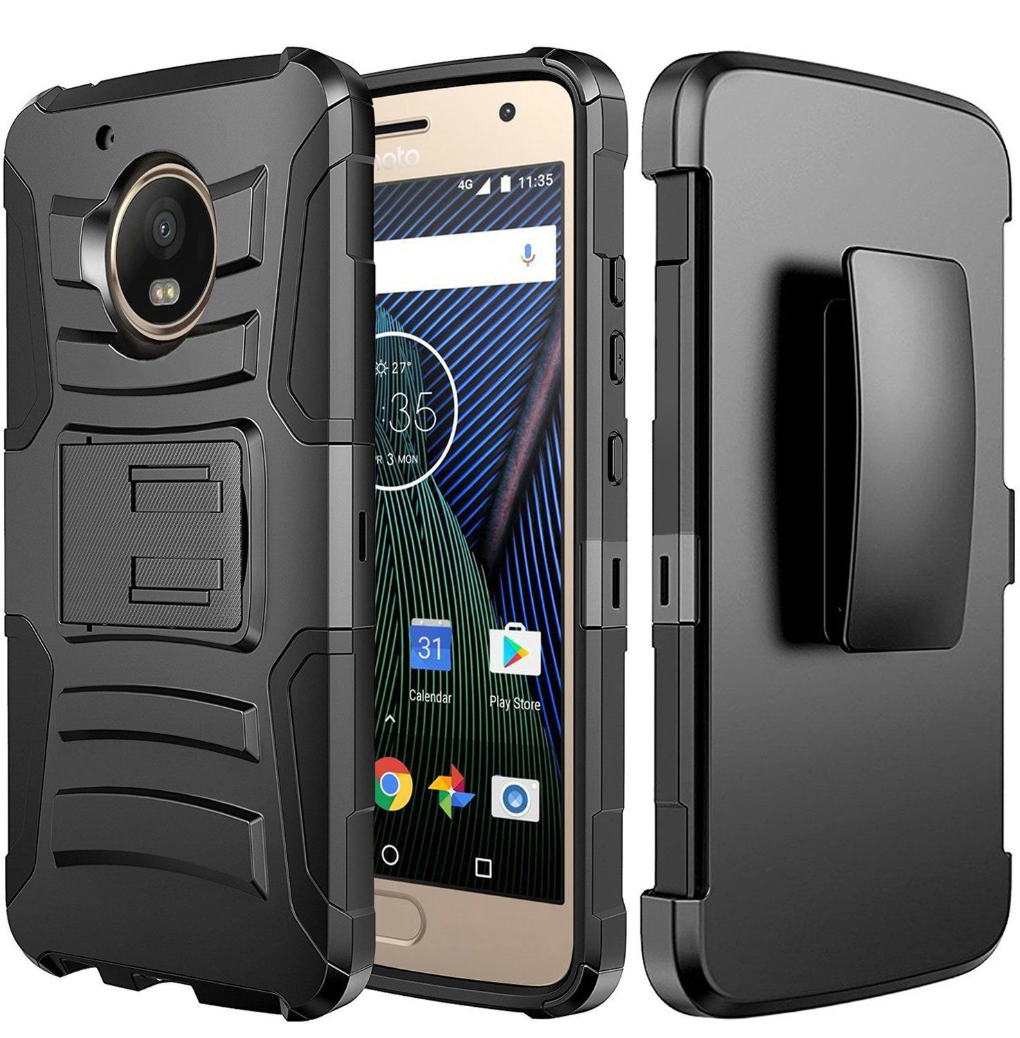 Motorola Moto G5 Plus Case, Dual Layer Hard Case w/ Kickstand on [Black] Silicone Skin Case w/ Holster with Travel Wallet Phone Stand