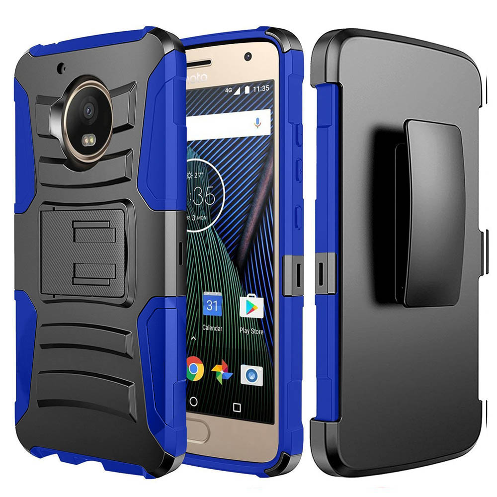 Motorola Moto G5 Plus Case, Dual Layer Hard Case w/ Kickstand on [Blue] Silicone Skin Case w/ Holster with Travel Wallet Phone Stand