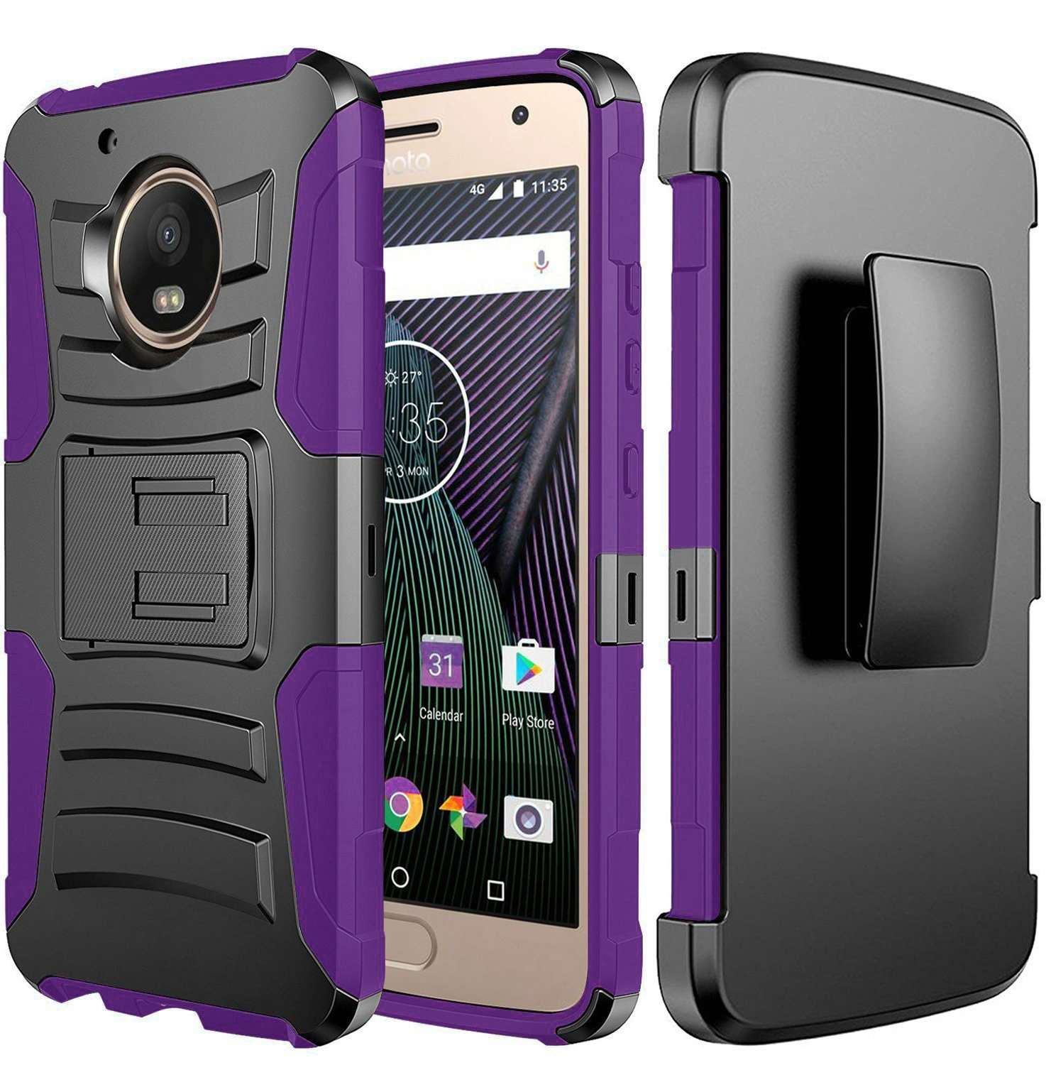 Motorola Moto G5 Plus Case, Dual Layer Hard Case w/ Kickstand on [Purple] Silicone Skin Case w/ Holster with Travel Wallet Phone Stand