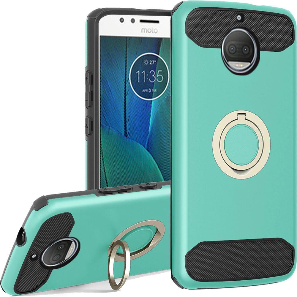 Motorola Moto G5S Plus (Will NOT fit Moto G5 Plus) Hybrid Case, [Mint] Brushed Hybrid Dual Layer Case w/ Ring Holder Stand