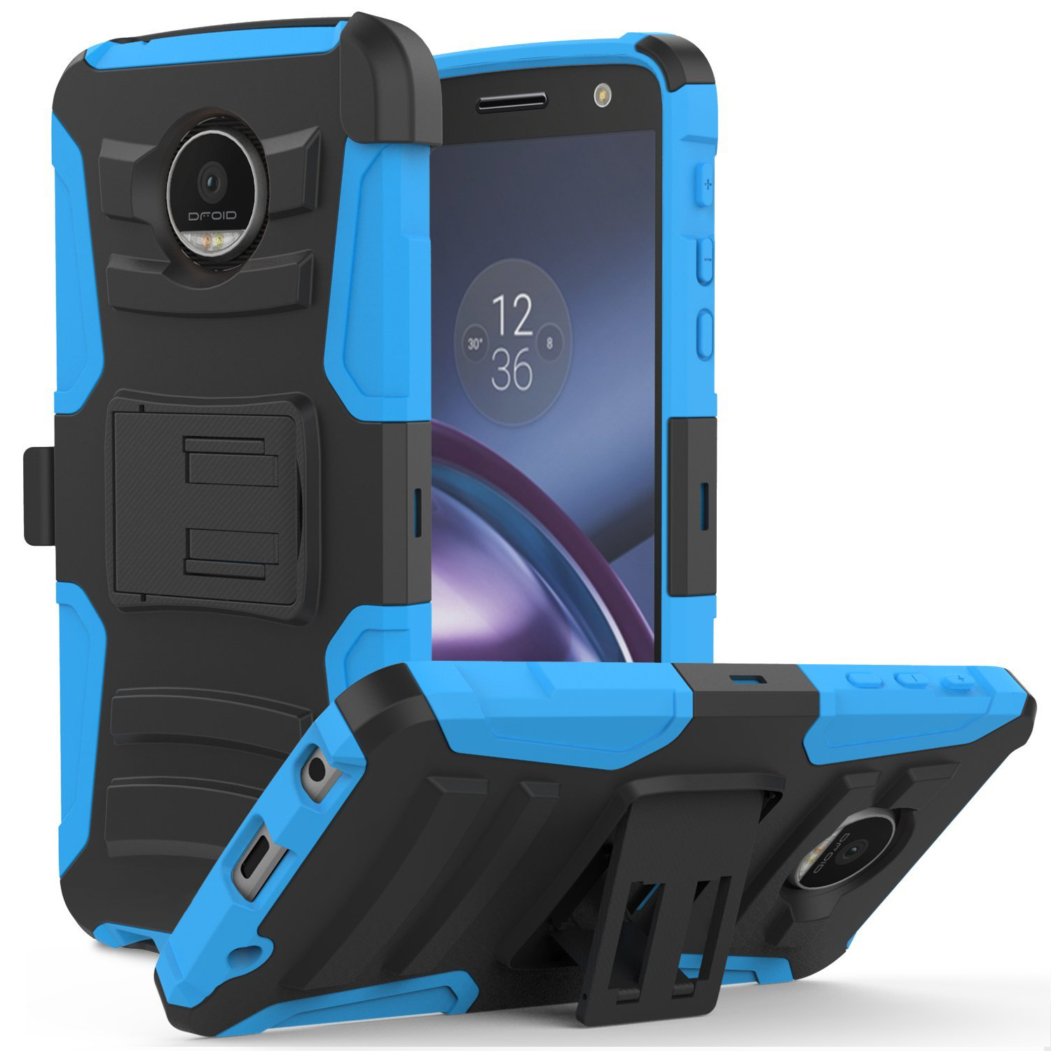 Motorola Moto Z Force Holster Case,  REDshield [Blue] Supreme Protection Hard Plastic on Silicone Skin Dual Layer Hybrid Case