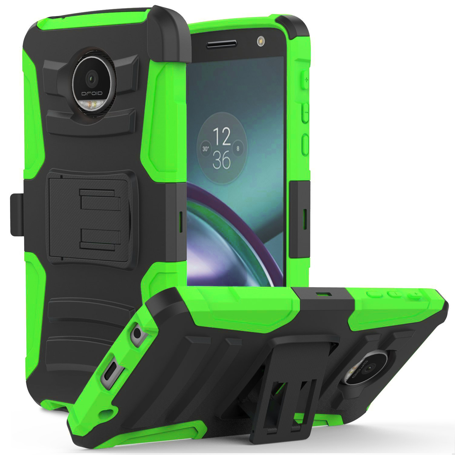 Motorola Moto Z Force Holster Case,  REDshield [Neon Green] Supreme Protection Hard Plastic on Silicone Skin Dual Layer Hybrid Case
