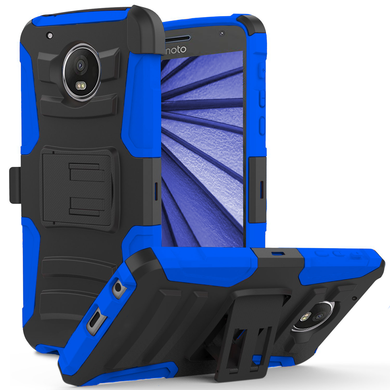 Motorola Moto Z2 Force Holster Case, Dual Layer Hard Case w/ Kickstand on [Blue] Silicone Skin Case w/ Holster with Travel Wallet Phone Stand