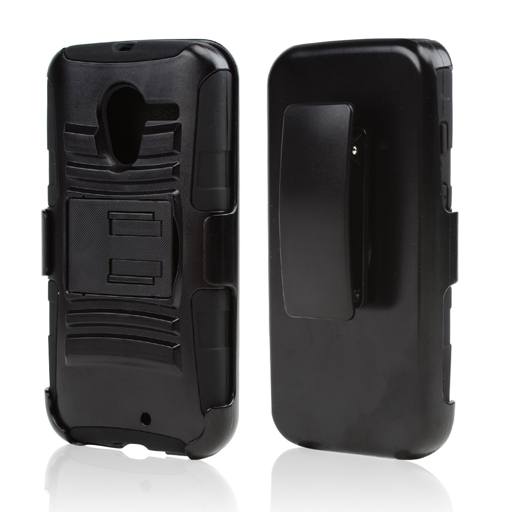 Black Hard Shell w/ Kickstand Over Black Silicone Skin Case w/ Holster for Motorola Moto X(2013 1st Gen)