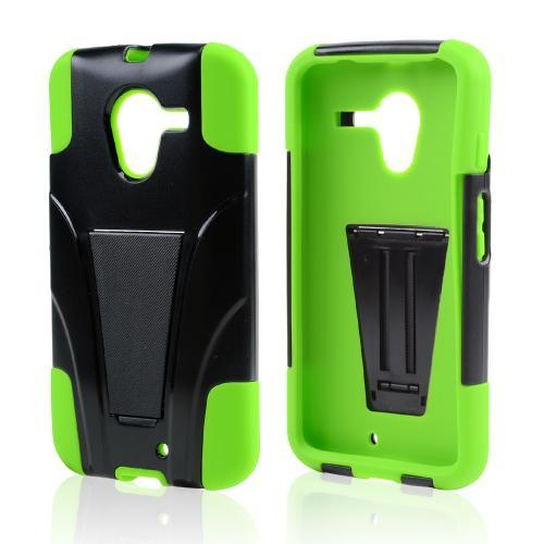 Black Hard Cover w/ Kickstand on Neon Green Silicone Skin Case for Motorola Moto X(2013 1st Gen)