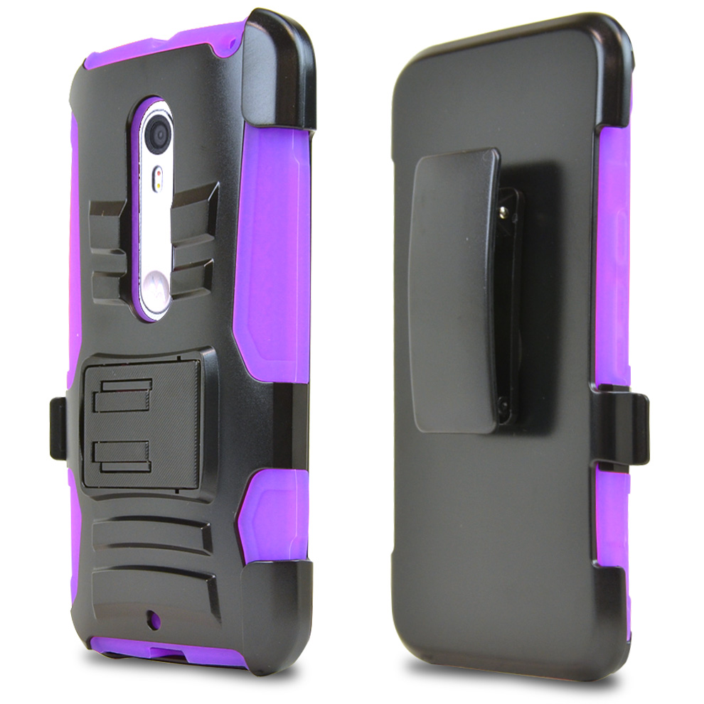 Motorola Moto X Pure Edition Holster Case, [Purple] Supreme Protection Plastic on Silicone Dual Layer Hybrid Case