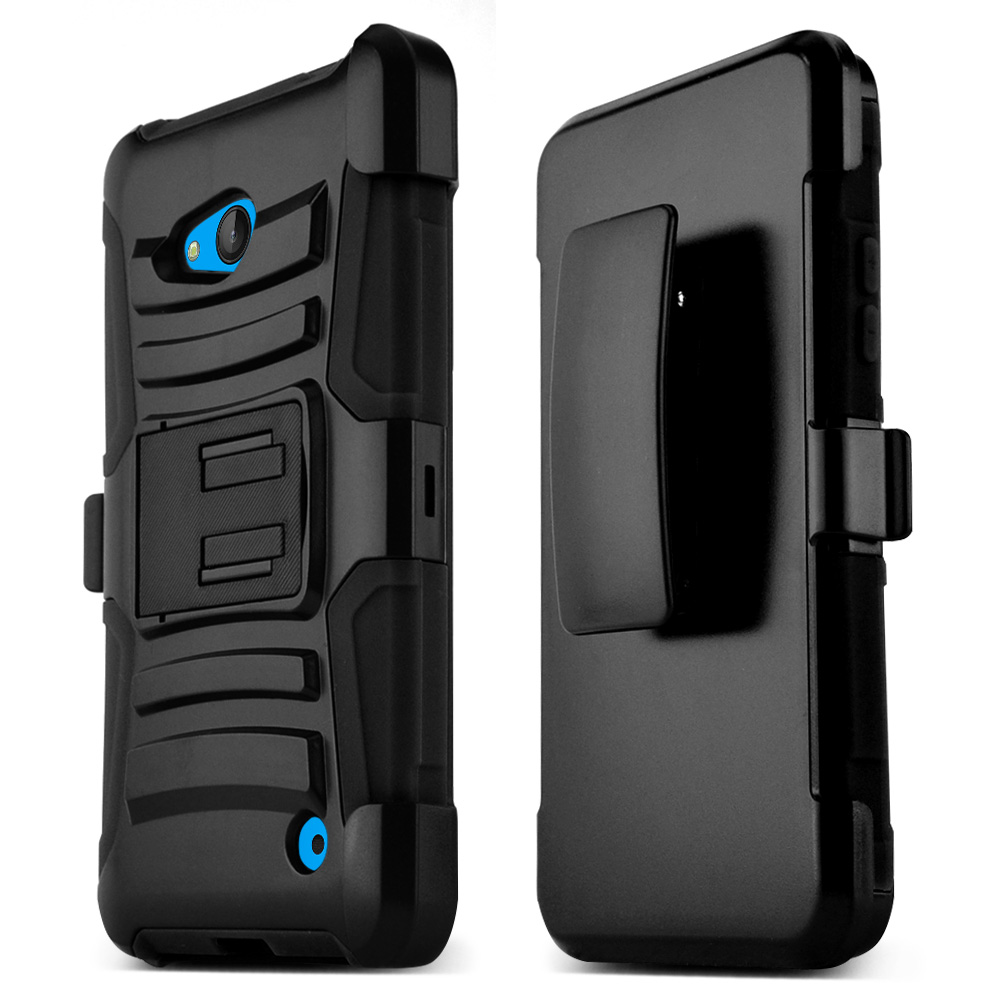Black Hard Plastic on Silicone Dual Layer Hybrid Case Cover Skin for Nokia Lumia 640
