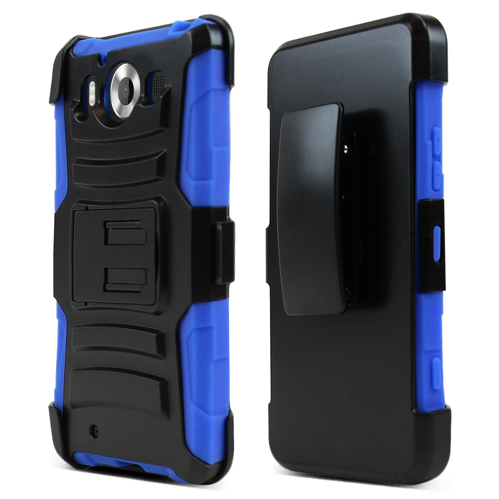 Microsoft Lumia 950 Holster Case, [Blue] Supreme Protection Plastic on Silicone Dual Layer Hybrid Case
