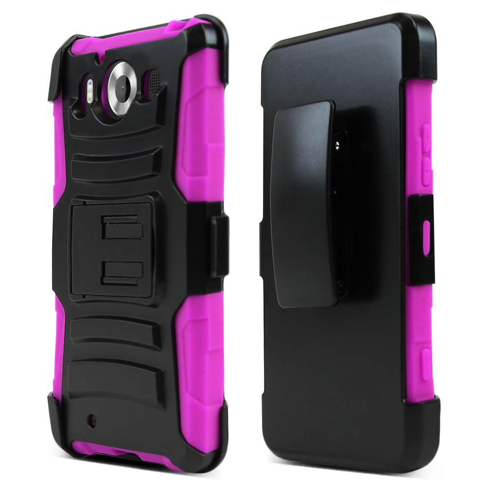 Microsoft Lumia 950 Holster Case, [Hot Pink] Supreme Protection Plastic on Silicone Dual Layer Hybrid Case