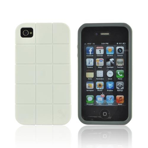 Premium Fusion Series AT&T/ Verizon Apple iPhone 4, iPhone 4S Turtle Shell Hard Cover Over Crystal Silicone Case - White/ Gray