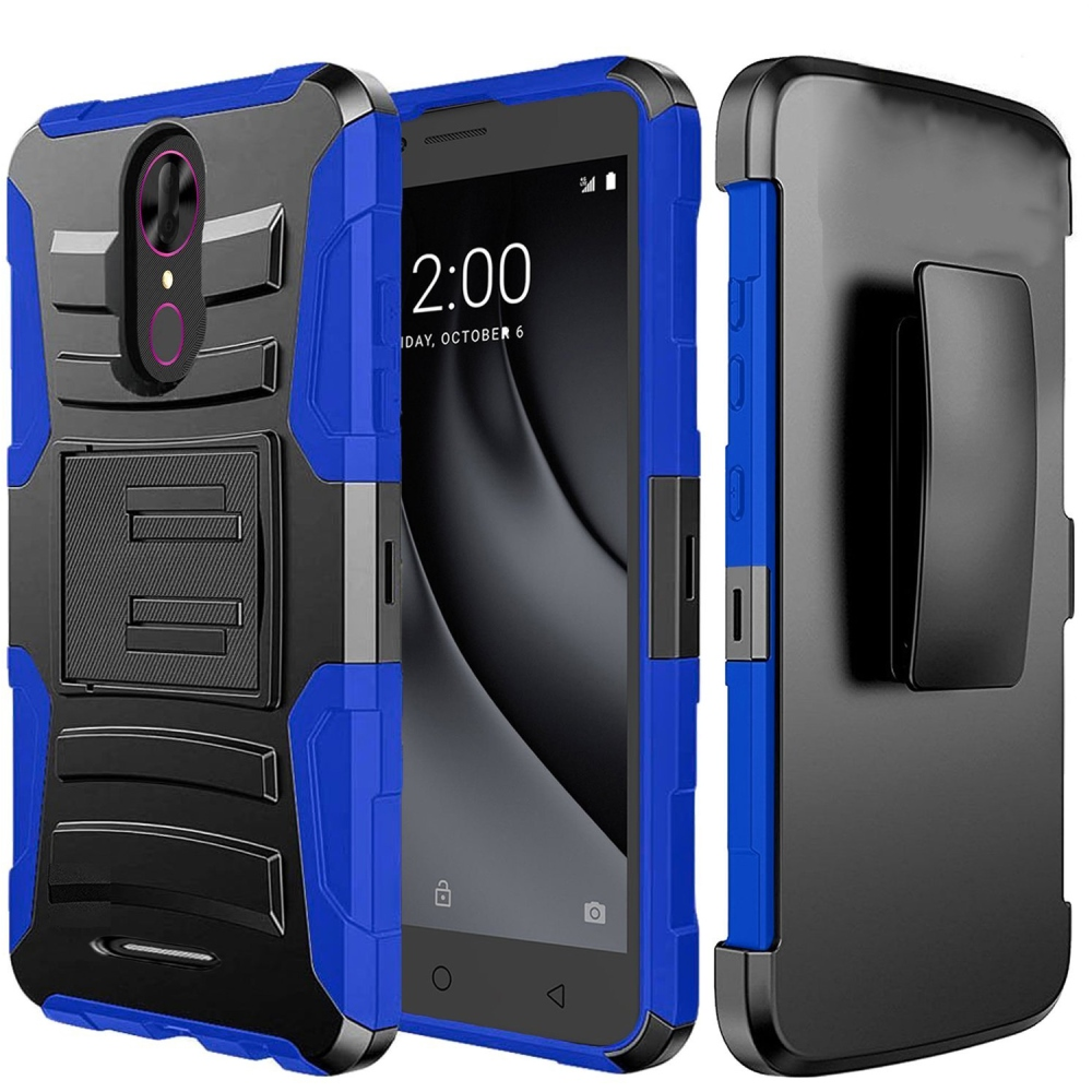 [Coolpad Revvl Plus-Tmobile Version Only] Holster Case, REDshield [Blue/Black] Supreme Protection Hard Plastic on Silicone Skin Dual Layer Hybrid Case