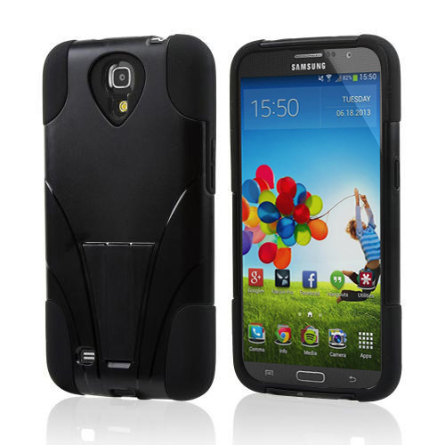 Black Hard Case w/ Kickstand on Black Silicone Skin Case for Samsung Galaxy Mega 6.3