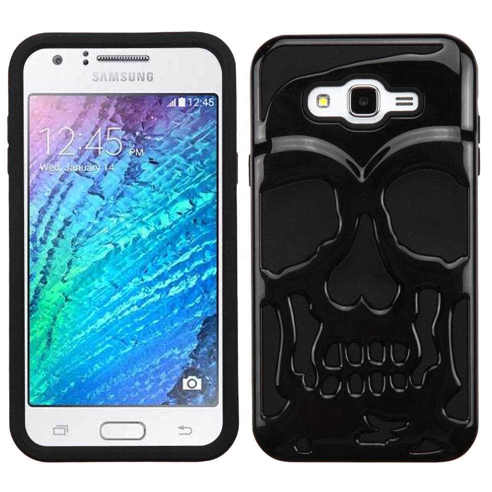 Samsung Galaxy J7 (2015) Case, Skull Hybrid Dual Layer Hard Case on Silicone Skin [Black]