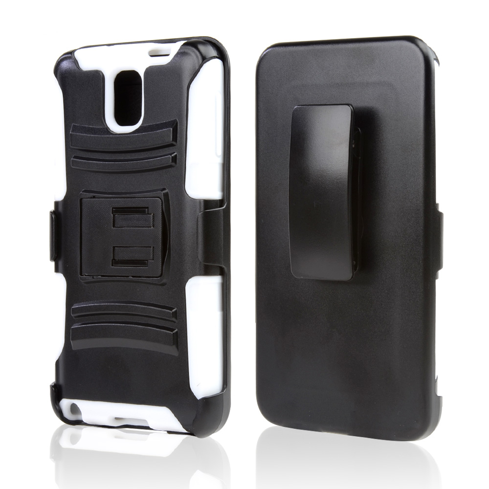 Black Hard Case w/ Kickstand on White Silicone Skin Case w/ Holster for Samsung Galaxy Note 3