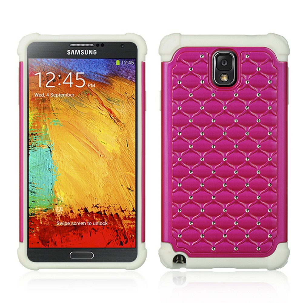 Hot Pink/ Magenta Hard Cover W/ Bling Over White Silicone Skin Case for Samsung Galaxy Note 3