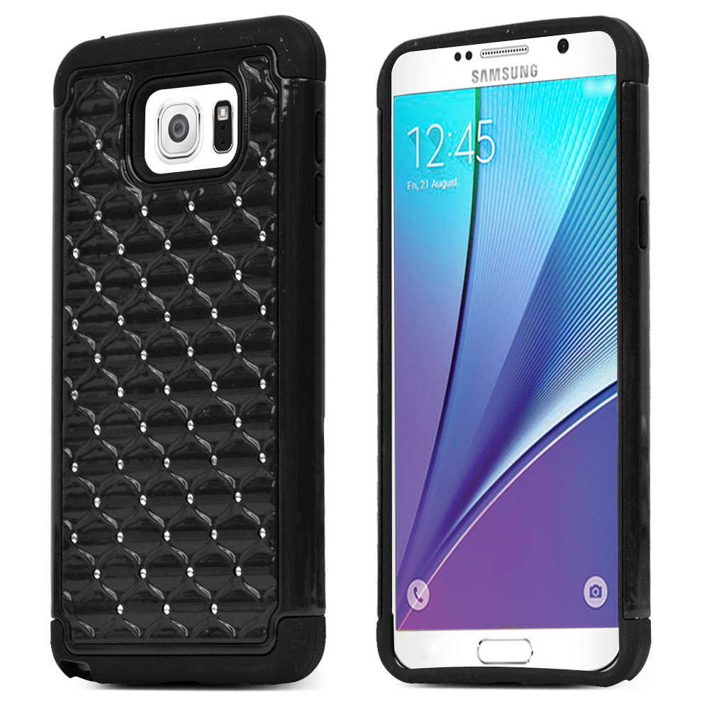 Samsung Galaxy Note 5, [Black Bling]  Supreme Protection Bling Plastic on Silicone Dual Layer Hybrid Case